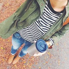 Really want an army green jacket like this! army green jacket, navy and white stripes, jeans and booties. 2016 fall fashion - stitch fix Fall College Outfits, Preppy Outfits, Casual Fall Outfits, Mode Outfits, Fall Winter Outfits, Autumn Winter Fashion, Fashionable Outfits, Casual Jeans, Casual Fall Fashion