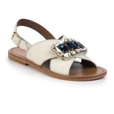 Marni Jeweled Calf Hair Crisscross Flat Sandals (5.689.775 IDR) ❤ liked on Polyvore featuring shoes, sandals, white, white flat sandals, flat sandals, jeweled flat sandals, white slingback shoes and sparkly sandals