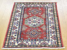 Hand-Knotted Super Kazak Tribal Design Red Oriental Carpet  #wool, #rugs, #carpet, #house, #home, #oriental, #design, #pattern