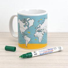 Caneca Mapa Mundi para colorir: de porcelana, vem com uma caneta especial para você preencher os países que já visitou.