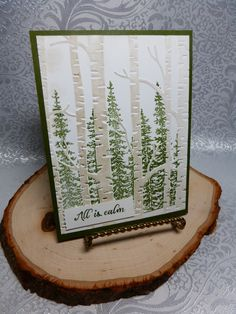 Stamp anything you want behind the trees on the Woodland Embossing Folder. Much easier than you think. www.stampwithbee.com