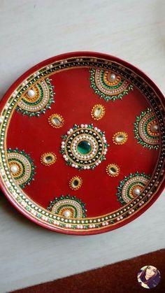 Arti Thali Decoration, Kalash Decoration, Diwali Diy, Diwali Craft, Diy Diwali Decorations, Festival Decorations, Acrylic Rangoli, Diy And Crafts, Arts And Crafts