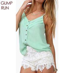 GUMPRUN moda Blusas colete sem mangas blusas feminina verão colete blusas de verão plus size camisas femininas 2016 cheap clothes china camisa de chiffon