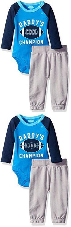 BON BEBE Baby Boys' 2 Piece Bodysuit Set with Sweatpant, Daddy Cool Champion Blue, 0-3 Months