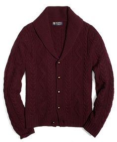 Burgundy Shawl Collared Cardigan, via Brook Brothers. Men's Fall Winter Fashion.
