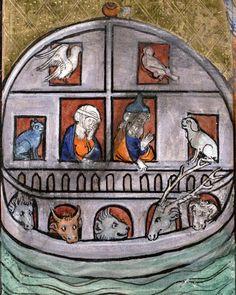 Noah's Ark  Somme le Roi, #Paris 1295 (Paris, Bibliothèque Mazarine, ms. 870, fol. 103r) #illuminatedmanuscript #medieval #noahsark #bible #art #medievalart #middleages #animals #cat #dog #cow #stag #birds #book #manuscript