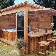 Hot tub gazebo - Would it look right to put an outdoor kitchen under screened pool