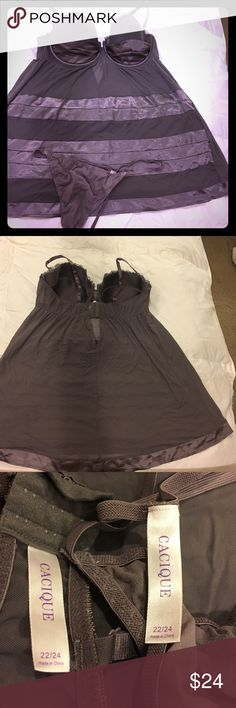 { Lane Bryant } ~Cacique~ Babydoll w/ Thong Lane Bryant / Cacique size 22/24.  Surprise your sweetie with this gorgeous, mesh & satin babydoll negligée and matching thong panty. This is a lovely shade of gray with a hint of purple. Flowy and soft, with satin accents and trim. Underwire cups provide the perfect amount of support, and have a delicate lace trim at the top of each cup. Bra closure in back has three hooks and size settings. Bra straps are adjustable and sturdy. No damage or…