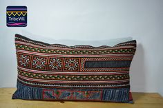 "Vintage Pillow Cover, Hill Tribe Textile Decorative Pillow Handmade Cotton and Hemp Embroidered Eco Friendly 12"" x 22"" HCB0028"