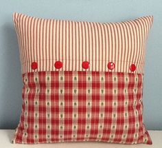 Country Christmas pillow. Country cottage pillow cover. Red Ticking. 18x18. Handmade Holiday pillow. Farmhouse decor. Cotton. Throw pillow.