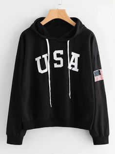To find out about the Flag Printed Drawstring Hoodie at SHEIN, part of our latest Sweatshirts ready to shop online today! Hoodie Sweatshirts, Printed Sweatshirts, Sweat Shirt, Sweat Cool, Mein Style, Ellesse, Cool Hoodies, Sports Hoodies, Romwe