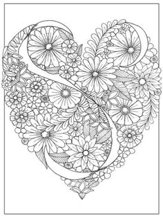 A sample coloring page from the adult coloring book Inkspirations: Color Your Way Content. Abstract Coloring Pages, Coloring Pages For Grown Ups, Heart Coloring Pages, Valentine Coloring Pages, Free Adult Coloring Pages, Pattern Coloring Pages, Mandala Coloring Pages, Coloring Pages To Print, Printable Coloring Pages
