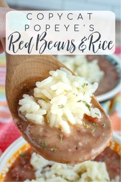 Popeyes Red Beans And Rice Recipe, Red Bean And Rice Recipe, Red Beans Recipe, Vegetarian Red Beans And Rice Recipe, Southern Red Beans And Rice Recipe, Easy Rice Recipes, Bean Recipes, Side Dish Recipes, Dinner Recipes