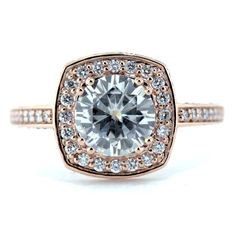8 mm Rose Gold Diamond Halo Moissanite Engagement Ring - Cushion Halo