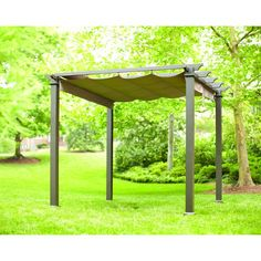 This pergola is made with durable aluminum and steel construction. The tan polyester canopy is retractable for star gazing or easily pulls over the flat roof for privacy and shade.