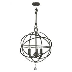 Hand-painted steel pendant with an openwork orb design.  Product: PendantConstruction Material: Steel