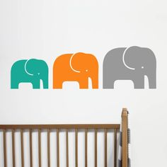 A set of three jolly elephant wall stickers.Available in 18 colours - pink, cerise, red, purple, orange, yellow, golden yellow, green, leaf green, mint, turquoise, sky blue, bright blue, grey, black, white, brown or cream. Please note that you will receive the elephants as three separate stickers.The perfect addition to a child's room or nursery - add instant impact to plain walls with our colourful wall stickers. The wall sticker features a modern elephant design and is available as a...
