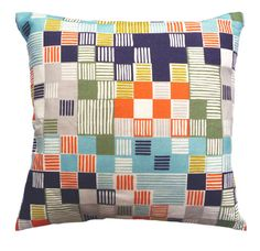 Minuet Multicolour Cushion by Imogen Heath  45 x 45 cm Cushion with feather pad and zip fastening.  Linen Cotton Mix Fabric.  Printed on both sides.  Made in the UK.  £60