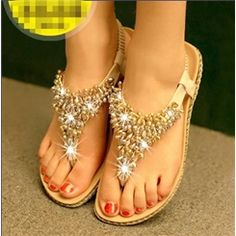 Princess Rhinestone&Beads Flat Sandals