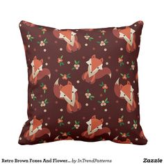 Retro Brown Foxes And Flowers Pattern Throw Pillow