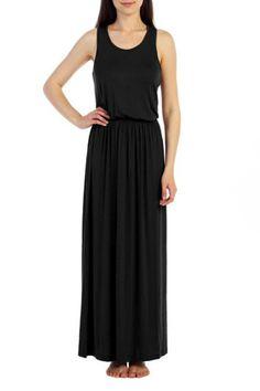 SLEEVELESS TANK  RACERBACK MAXI DRESS WITH ELASTIC WAIST   Sleeveless Racerback Dress by Sofra. Clothing - Dresses - Maxi Oklahoma