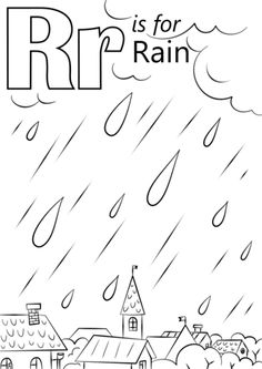 Letter R is for Rain coloring page Free Printable Coloring Pages Kindergarten Coloring Pages, School Coloring Pages, Alphabet Coloring Pages, Kindergarten Reading, Free Printable Coloring Pages, Kindergarten Activities, Letter R Activities, Letter R Crafts, Preschool Letters