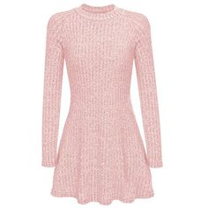 Yoins Pink High Neck Long Sleeve Knit Casual Dress ($23) ❤ liked on Polyvore featuring dresses, pink, vestidos, long sleeve day dresses, long sleeve knit dress, high-neck dress, pink day dress and knit dress