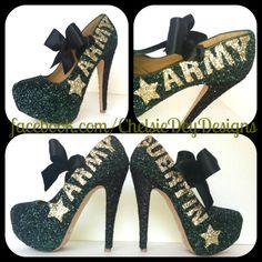Army Glitter High Heels