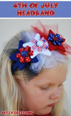 Cute and easy 4th of July headband. Definitely doing this for the girls
