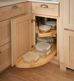 Storage Solutions Details - Base Blind Corner w/ Wood Lazy Susan - from KraftMaid storage solutions