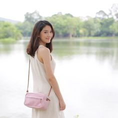 Image of Eco Bags Crossbody Bags Hand Woven and botanical dyed Cotton Little Tan Width Pink Color.