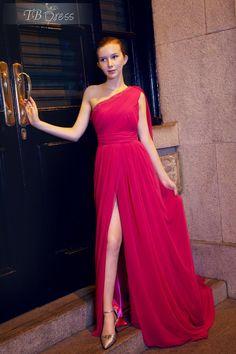 Elegant A-line One-shoulder Watteau Split-front Court Train Evening Pageant Dress