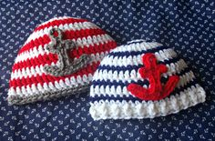 five little monsters: Free Crochet Pattern- Anchor Baby Hats