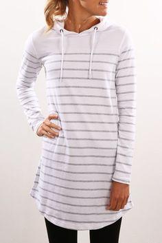 Heartbreak Hooded Dress White Stripe
