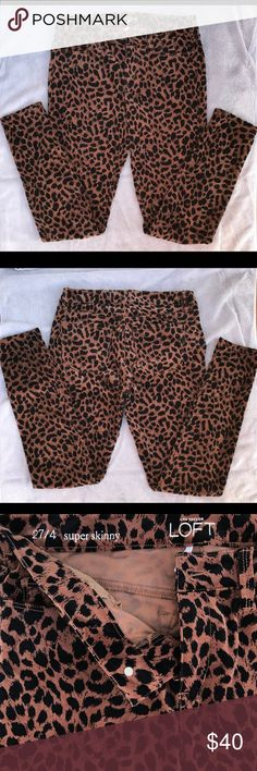 "Ann Taylor Loft Super Skinny Leopard Pants Size: 27/4 Inseam: 31"" Waist Flat: 15""  Front Rise: 9"" Back Rise: 12""   These leopard pants are super soft! They are sure to make a statement in any outfit! Ann Taylor Pants Skinny"