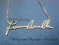 Keepsake Signature Jewelry - Handwriting Jewelry - Custom Name Necklace - Gifts For The Home -  Horizontal Pendant