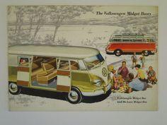 Original Rare 1958 Volkswagen Germany VW Midget Buses De Luxe Car Brochure