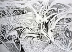 Looking out to Ballard Cliff, Swanage pencil on paper 2013 Landscape Drawings, Landscape Paintings, Landscapes, Original Paintings, Original Art, Plant Drawing, David Hockney, Inspirational Artwork, Linocut Prints