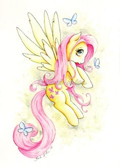 My Little Pony Fluttershy Art Print 5x7 - Butterfly by Sarah Alden   For Benji.
