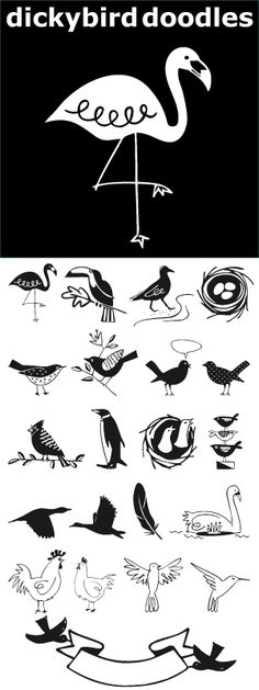 Dickybird Doodles? A dickybird is an ordinary bird, not a raptor or game bird. This illustration font has 32 of them. Birds in a cage, on a wire, in a nest. A flamingo, toucan, sandpiper, cardinal, penguin, heron, chicken & rooster, hummingbird, swan. Some line, some reverse and one with polka dots. www.outside-the-line.com