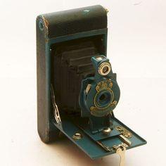 Camera Kodak Rainbow Hawkeye No. 2a Blue Model B Folding Camera with Lens.
