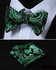 GC32 GREEN, BLACK Floral 100% Silk Butterfly Tie Self Tie Bow Tie Pocket Square Bow tie Set