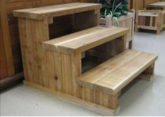 Whirlpool Deck, Stair Plan, Bed Steps, Porch Steps, Dog Stairs, Hot Tub Deck, Wood Display Stand, Wood Plans, Woodworking Plans