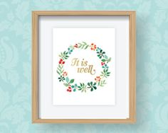 This 8 x 10 art print features a beautiful wreath encircling the words It Is Well. In early 2013, Emily wrote a blog post titled It is Well with My Soul where she shared her story of infertility and the lessons she and her family have learned along the way.