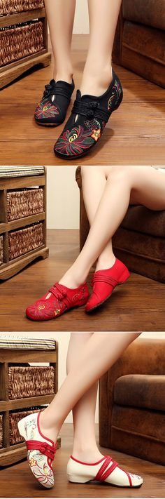 7f3fe6429677c Big Size Flower Embroidered Chinese Knot Vintage Flat Casual Loafers is  cheap and comfortable. There are other cheap women flats and loafers online.