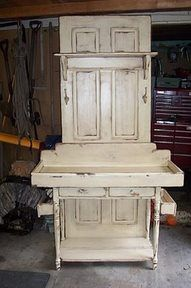 potting bench made from old wood doors