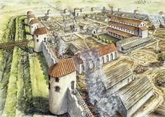 This is a reconstruction drawing of what the Roman fort at Portchester looked like in AD 345. Archaeological excavations suggest the Roman fort at Portchester was built between AD 285-290. It\'s building probably relates to a series of \'barbarian\' (Saxon) attacks along the coasts of Britain and Gaul (France) at this time.