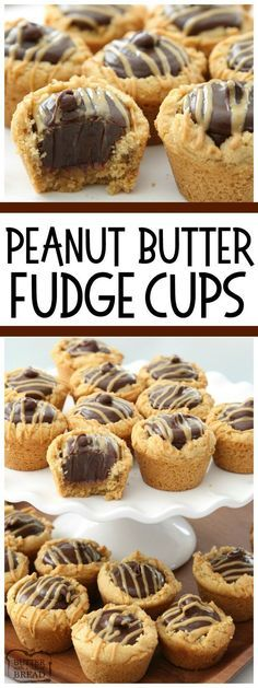 Peanut Butter Fudge Cups are peanut butter cookies filled with a simple chocolate fudge! Delicious flavor combination in these amazing treats from Butter With A side of Bread (chocolate dessert in a cup) Easy Cookie Recipes, Candy Recipes, Baking Recipes, Cookie Flavors, Köstliche Desserts, Delicious Desserts, Dessert Recipes, Holiday Desserts, Plated Desserts