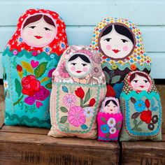 Russian Dolls by Lara Sparks Paper Dolls, Art Dolls, Embroidered Cushions, Creation Couture, Matryoshka Doll, Christmas Wishes, Doll Patterns, Doll Toys, Machine Embroidery