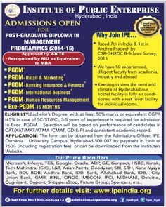 Admissions open for AICTE Approved Programmes POST-GRADUATE DIPLOMA IN  MANAGEMENT  PROGRAMMES (2014-16) Approved by AICTE *Recognized by          Association of Indian Universities (AIU) as equivalent to MBA   PGDM*   PGDM-Retail & Marketing*      PGDM-Banking Insurance & Finance*      PGDM-International Business*      PGDM-Human Resources Management       Exe-PGDM-15 MONTHS